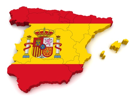 flag of spain: 3D Map of Spain