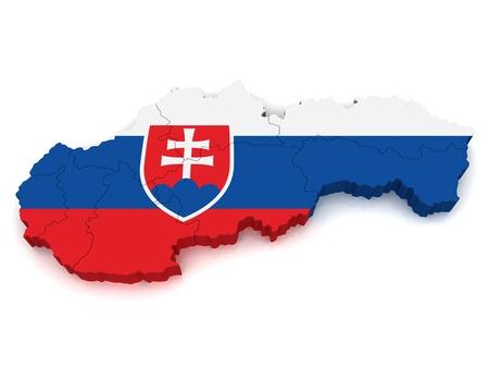 slovakia: Mappa 3D della Slovacchia Archivio Fotografico