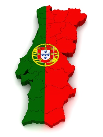 european maps: 3D Map of Portugal