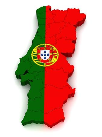 drapeau portugal: Carte 3D du Portugal