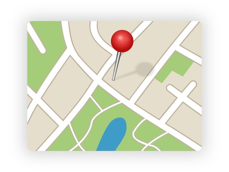 red pin: GPS Map Stock Photo