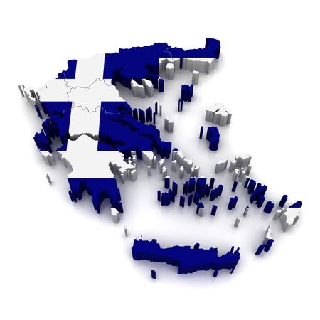 kreta: 3D Karte von Griechenland Lizenzfreie Bilder