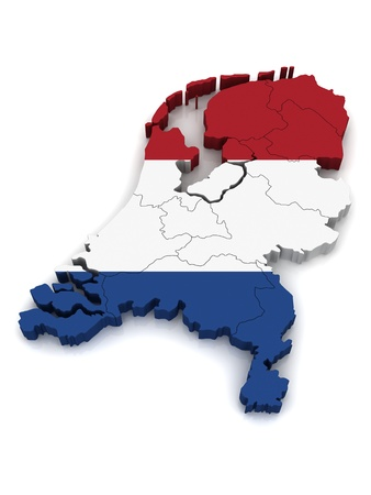 drapeau hollande: Carte 3D des pays-bas
