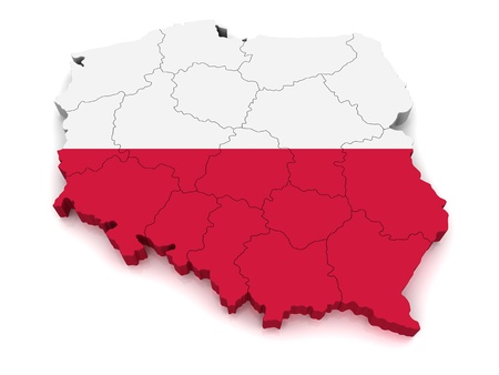 poland: 3D Map of Poland