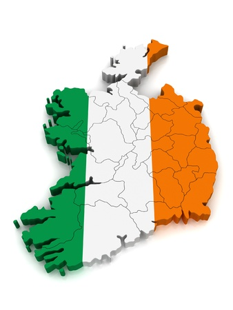 3D Map of Ireland Stock Photo