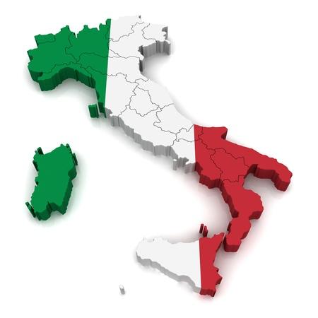 3D Map of Italy Standard-Bild