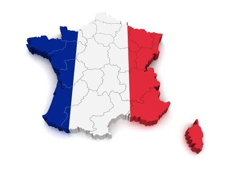 3D Map of France Standard-Bild