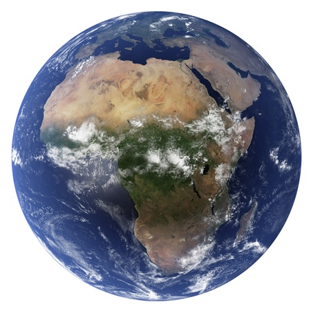 3D Earth globe (Clouds&Topography maps come from earthobervatory/nasa) Standard-Bild