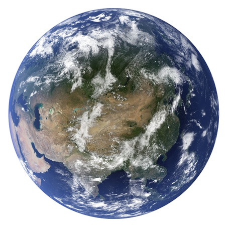 3D Earth globe (Clouds&Topography maps come from earthobervatory/nasa) Stock Photo - 9772346
