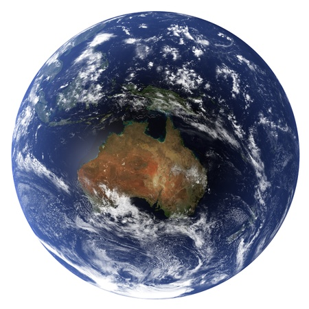 3D Earth globe (Clouds&Topography maps come from earthobervatory/nasa) Stock Photo