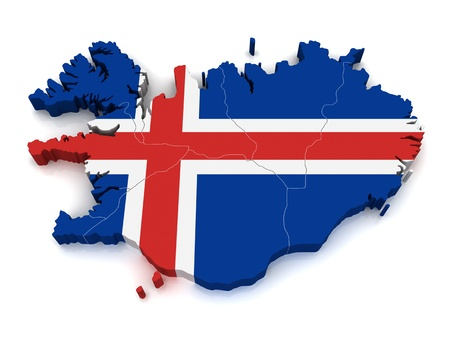 iceland: 3D Map of Iceland Stock Photo