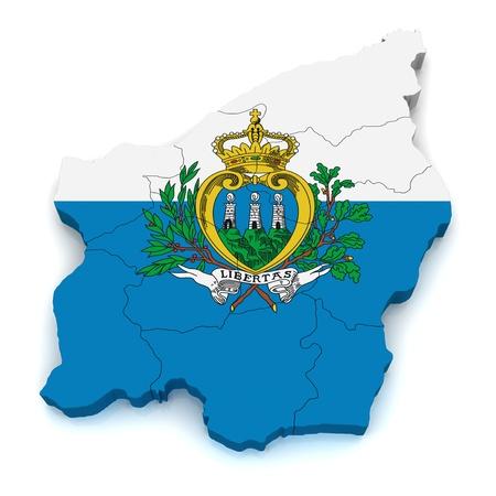 san marino: 3D Map of San Marino Stock Photo
