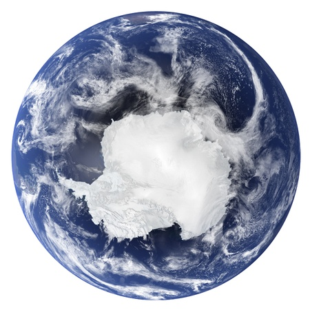 3D Earth globe (Clouds&Topography maps come from earthobervatorynasa)  Stock Photo