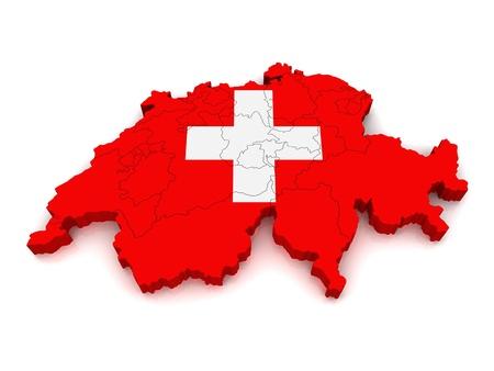 3D Karte der Schweiz Standard-Bild - 9772229