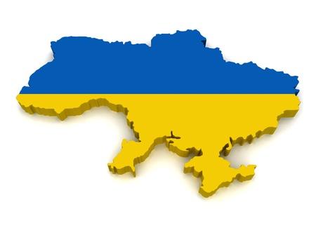 3D Map of Ukraine  Stock Photo