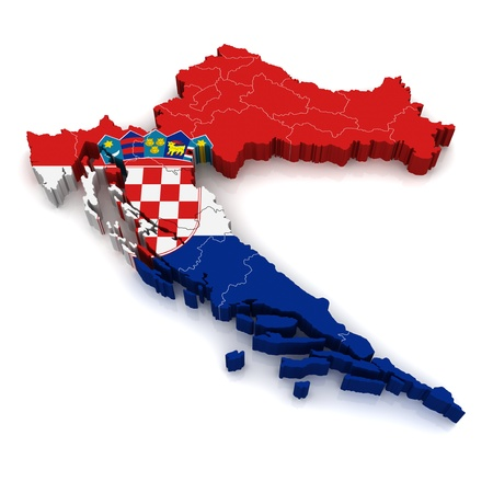 croatia: 3D Map of Croatia  Stock Photo