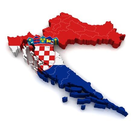 bandera de croacia: Mapa 3D de Croacia  Foto de archivo