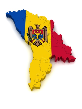 3D Map of Moldova  Stock Photo