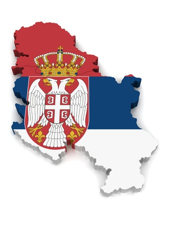 serbia: 3D Map of Serbia Stock Photo