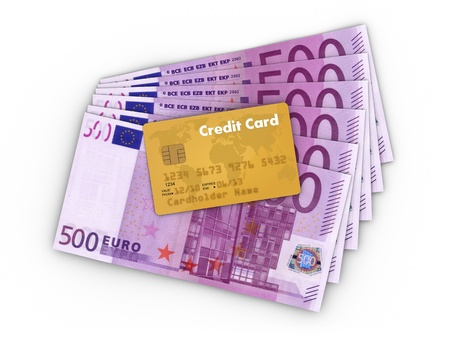 Euro Money Banknotes with Creditcard  photo