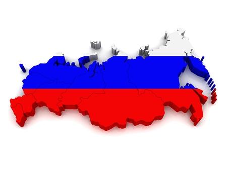 bandera rusia: Mapa 3D de Rusia