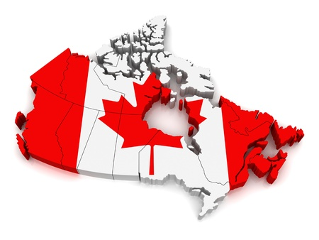 canada: 3D Map of Canada Stock Photo