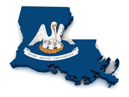 루이지애나의 3D지도 스톡 콘텐츠