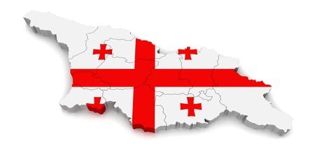 georgia: 3D Map of Georgia  Stock Photo
