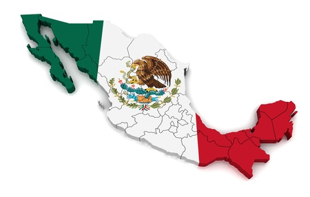 3D Map of Mexico  Stock Photo
