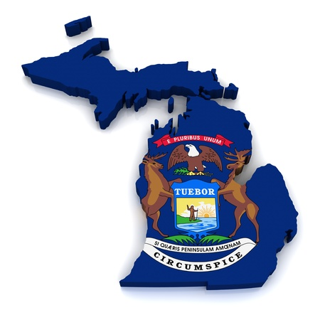 michigan flag: 3D Map of Michigan  Stock Photo