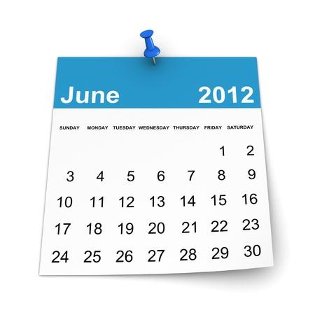 Calendar 2012 - June Stock Photo