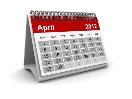 Calendar 2012 - April Stock Photo