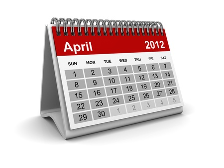 Calendar 2012 - April Stock Photo