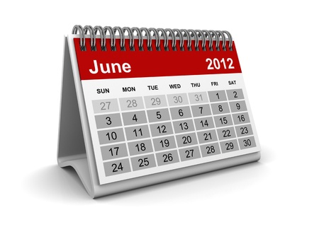 Calendar 2012 - June Stock Photo