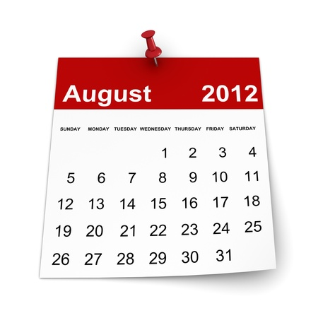 달력 2012 년 - 2011 년 8 월
