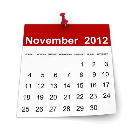 november 3d: Calendar 2012 - November Stock Photo