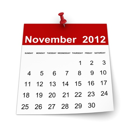 Calendar 2012 - November 免版税图像