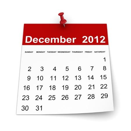 달력 2012 년 - 2010 년 12 월
