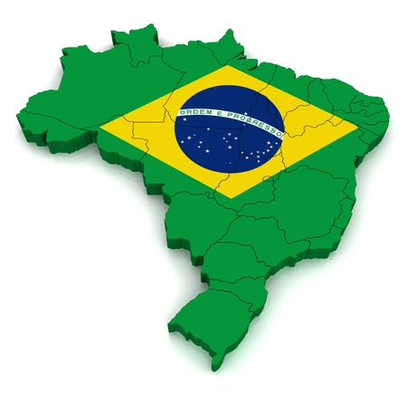 3D Map of Brazil  photo