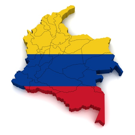 republic of colombia: 3D Map of Colombia