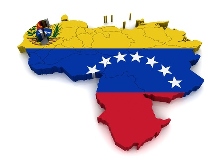 3D Map of Venezuela  Stock Photo