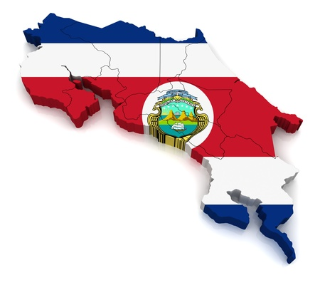 costa rica flag: 3D Map of Costa Rica  Stock Photo