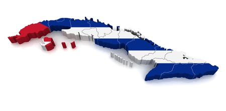cuban flag: 3D Map of Cuba