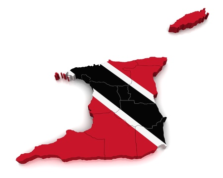 port of spain: 3D Map of Trinidad and Tobago  Stock Photo