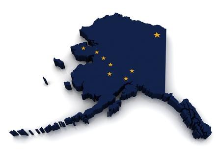 alaska: 3D Map of Alaska  Stock Photo