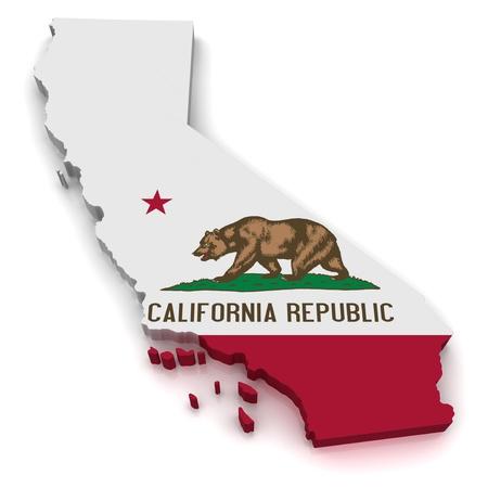 united  states of america: Mappa in 3D della California