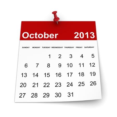 Calendar 2013 - October Stock Photo