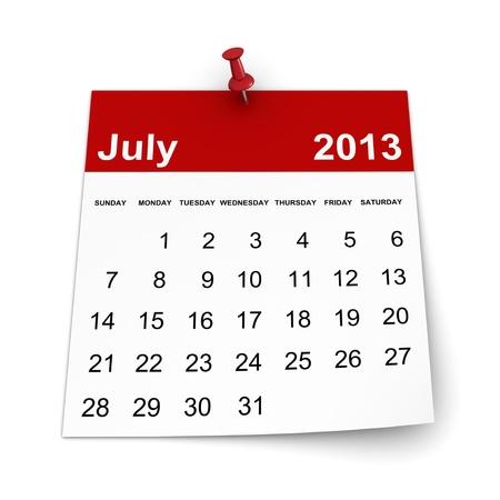 달력 2013 - 2011 년 7 월