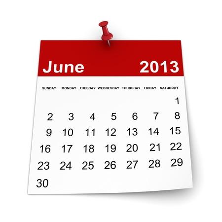 Calendar 2013 - June Stock Photo