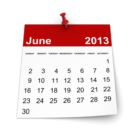 Calendar 2013 - June Stock Photo